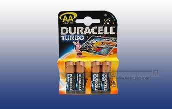 Элемент питания Duracell  MN1500 TURBO AA BL4 Элемент питания Duracell  MN1500 TURBO BL4
